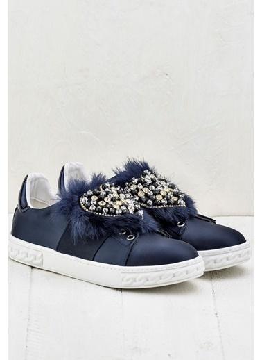 Elle Tüylü Ayakkabı Lacivert